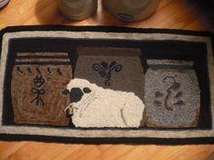 """Large Primitive Hooked Rug PAPER PATTERN 36"""" x 18"""" -Rug Hooking- Sheep / Vintage Crock- """"Lamb and Crocks"""" on Etsy, $19.34 CAD"""