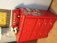 I painted my old dresser to look like a Snap-On toolbox for my Son's room.