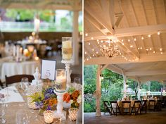 Burlap table runners + dark wooden chairs
