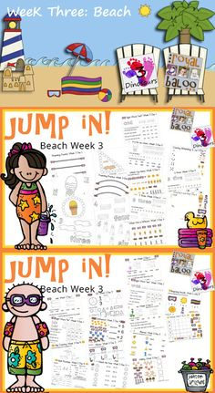Jump In to Summer Learning Week 3 of 5 Beach Themed Printables for Tot, PreK, Kinder and First. Covering Letters, Shapes, Numbers, Math & Reading. 3Dinosaurs.com & RoyalBaloo.com