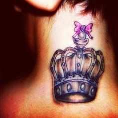 Crown and pink bow neck tattoo