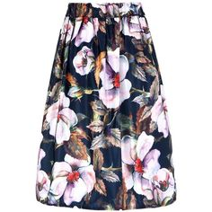 Pleated Floral Print Full Skirt With High-Rise Waist ($25) ❤ liked on Polyvore featuring skirts
