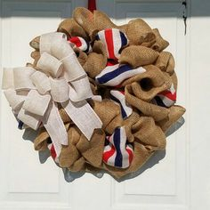Check out this item in my Etsy shop https://www.etsy.com/listing/291105305/4th-of-july-wreath-burlap-american