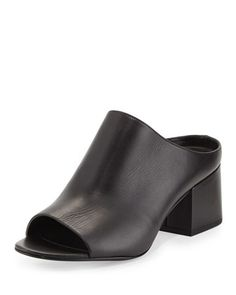 Open-Toe+Leather+Mule+Slide+Sandal,+Black+by+3.1+Phillip+Lim+at+Bergdorf+Goodman.