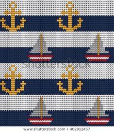 Knitted marine seamless pattern Baby Boy Knitting Patterns, Baby Cross Stitch Patterns, Tapestry Crochet Patterns, Knitting Charts, Cross Stitch Designs, Cross Stitch Horse, Cross Stitch Sea, Cross Stitch Letters, Crochet Boat