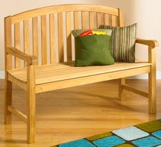 Show details for Teak Bench with Arms