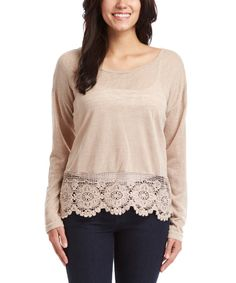 Look at this Taupe Lace-Accent Scoop Neck Top on #zulily today!