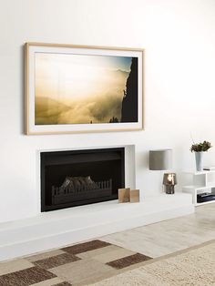 & & & & & Samsung& The Frame digital picture frame over a fireplace This gorgeous piece is actually a TV! The post Samsung& The Frame digital picture frame over a fireplace This gorgeous appeared first on wohnungeinrichten. Tv Above Fireplace, Fireplace Tv Wall, Modern Fireplace, Frame Around Tv, Picture Frame Tv, Framed Tv, Living Room Tv, Cool Walls, Family Room
