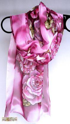 Hand painted silk scarf Silk chiffon Magenta scarf Floral