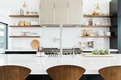 Black KItchen Island with Pure White Quartz Countertop - Transitional - Kitchen - Benjamin Moore Simply White Bright Kitchens, Black Kitchens, Home Kitchens, Faux Granite, Studio Kitchen, New Kitchen, Room Kitchen, Kitchen Hoods, Kitchen Dining