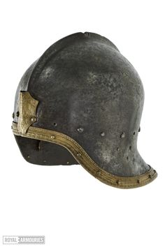A gilt Sallet with a plume holder, Height: cm Width: cm Depth: cm Weight: g Milan, Italy, ca. housed at the Royal Armouries Tower of London. Medieval Helmets, Medieval Armor, Armadura Medieval, Armor Of God, Arm Armor, 15th Century, Headgear, Leather Working, Riding Helmets