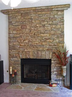 Give your fireplace a makeover with faux stone siding to bring warmth to the hearth of your home this year and for many years to come. Concrete Overlay, Stamped Concrete, Concrete Stamping, Decorative Concrete, Faux Fireplace, Fireplaces, Faux Stone Siding, Condo Living, Hearth