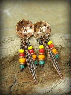 Stud Earrings Tribal Earrings Feather Earrings by StoneWearDesigns