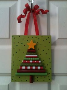 Rolled Paper Christmas Tree Plaque by PolkadotsOriginals on Etsy, $10.00