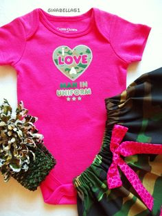 Pink camo outfit baby girl I love a man in uniform superhero onesie dress skirt Military newborn 3 6 9 12 months Camouflage bow headband on Etsy, $29.50