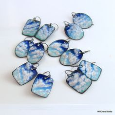 Skywatching Earrings Blue and White Copper Enamel Dangles