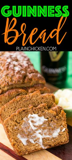 Guinness Bread - so easy and SO delicious! Ready to eat in an hour! Seriously THE BEST beer bread I've ever eaten!! Flour, baking powder, salt, sugar, molasses, Guinness beer and melted butter. Great for St. Patrick's Day!!