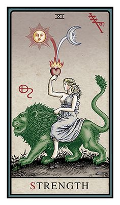 Strength - Alchemical Tarot Edition by Robert M. This card symbolizes one of the stages of the Fool's Journey towards self-discovery. The Fool stands for all of us. Tattoos 3d, Strength Tarot, Tarot Tattoo, All Tarot Cards, Love Tarot, Daily Tarot, Tarot Card Meanings, Desenho Tattoo, Major Arcana