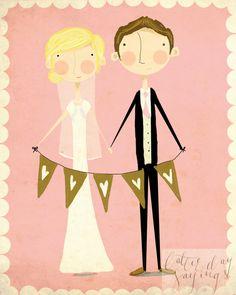Custom Wedding Illustration by LatterDaySayings on Etsy, $75.00
