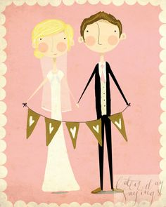 Custom Wedding Illustration by LatterDaySayings on Etsy, $75.00