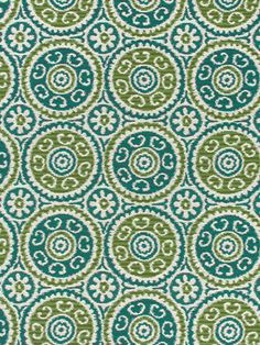 Teal Ikat Fabric - Suzani Fabric - Modern Upholstery Fabric - Teal Apple Green Fabric by the Yard