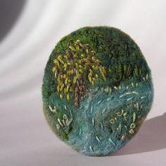 Felt brooch felt pin willow motive nature motive hand by Mardit