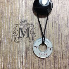 Zodiac Aries Resin Coated Washer Necklace by MazerCreations, $10.00
