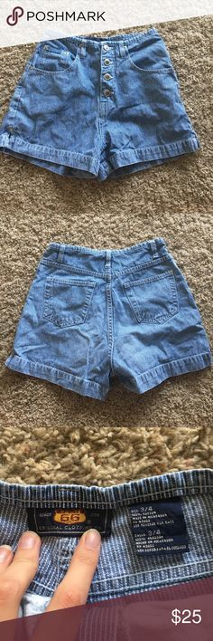 """Vintage High Waisted Route 66 Pinstripe Shorts Blue and white pinstripe jeans. Exposed button fly. High waisted. 12"""" waist x 18"""" hips x 11"""" rise x 2 """" Inseam. Levi's for exposure only. Levi's Shorts Jean Shorts"""