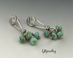 Turquoise Earrings, Silver Earrings, Stud Earrings, Drop Earrings, Sterling Silver, Turquoise Beads, Metalsmith, Metalwork, Artisan Jewelry by LjBjewelry on Etsy https://www.etsy.com/listing/523462047/turquoise-earrings-silver-earrings-stud