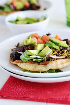 Beef Tostada Recipe - a most simple and delicious dinner idea! Topped with fresh veggies, this recipe is a perfect weeknight meal solution!