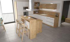 Kuchyňa s korpusom Dub Arlington H3303, bieloakrylátové dvierka. Má praktický kuchynský ostrovček a je vyrábaná na mieru.
