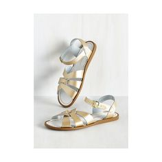 Salt Water Sandals Nautical Salt Water Sandal ($40) found on Polyvore featuring women's fashion, shoes, sandals, gold, slingback, braided sandals, swim shoes, flat sandals, strappy sandals and woven leather sandals