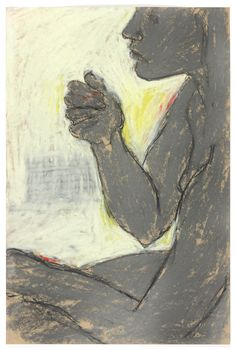 George Segal - Untitled Series VII #3 (Seated Brown Nude) | From a unique collection of nude drawings and watercolors at http://www.1stdibs.com/art/drawings-watercolor-paintings/nude-drawings-watercolors/
