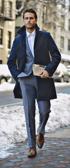 - with a fall dapper combo with a navy topcoat white button up shirt gray suit brown dress shoes. Mens Fashion Sweaters, Mens Boots Fashion, Mens Fashion Suits, Fashion Black, Giuseppe Penone, Fashion Mode, Fashion Styles, Fashion Ideas, Men Dress