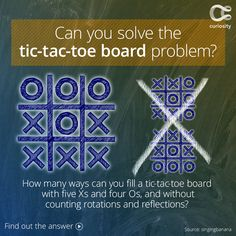 Can you solve the tic-tac-toe board problem? Here is the question: How many ways can you completely fill a tic-tac-toe board, which is a 3x3 grid, with five Xs and four Os? The rule to this problem is that you cannot count layouts that are reflection or rotations of other layouts. The solution deals with the mathematics of symmetry.  Click the image to get the answer!