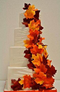 Fall Themed Wedding Cake by Gimme Some Sugar (vegas!), via Flickr