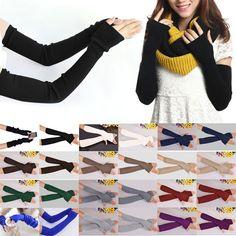 Hot New 40cm Winter Women Ladies Girl Long Cashmere Blend Gloves Arm Sleeve Warmers Mittens Wrist Arm Warmers Mittens Cheap Z2