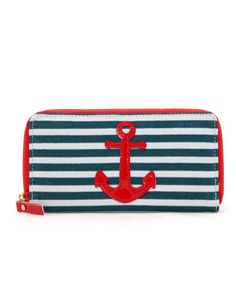 Features include zip around closure, several credit card slots and interior coin zip closure. Nautical Shoes, Nautical Clothing, Nautical Outfits, Nautical Style, Nautical Anchor, Nautical Fashion, Backpack Purse, Purse Wallet, Cute Purses
