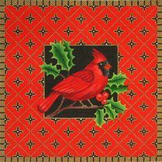 NEEDLEPOINT Handpainted Amanda Lawford CHRISTMAS Cardinal 12x12