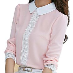 New 2015 Autumn Women Blouses Peter Pan Collar Chiffon Blouse Long Sleeve Office Workwear Lace Crochet Shirts Pink Women Tops