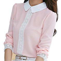 New 2015 Autumn Women Blouses Peter Pan Collar Chiffon Blouse Long Sleeve Office Workwear Lace Crochet Shirts Pink Women Tops