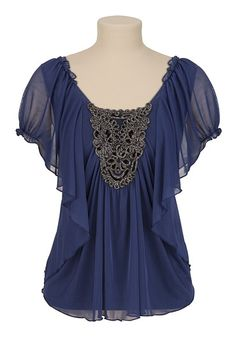 Mesh Flutter Sleeve Top with Embellished Neck...I love this one.