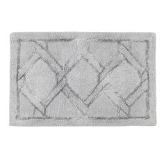 Add a sophisticated calming look to your bathroom the Gwynn Bath Rug.  This elegant Bath Rug incorporates high pile areas with an inset border motif outlined in silver viscose. This rug is ultra-luxurious on the feet.  It is the perfect accent that can fit any bathroom aesthetic.