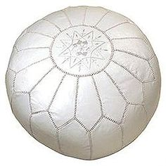 White Moroccan Pouf sold at http://www.mpwplaza.com