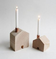 wooden house candle holders