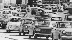 (Photo by Keystone/Hulton Archive/Getty Images) Congested traffic outside Milan, as city-dwellers leave for the coast and the mountains to escape the summer heat, Aug. Summer in the Evo 9, Ford News, Lincoln Continental, Pinterest Photos, Car Tuning, Fiat 500, Car In The World, Vintage Italian, Historical Pictures