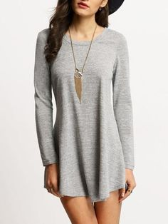 grey casual dress, long sleeve dress, trendy shirt dress - Lyfie