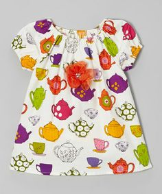 Take a look at this White & Green Tea Cup Peasant Top - Toddler & Girls by SILLY MILLY on #zulily today! http://www.zulily.com/invite/kcrim608