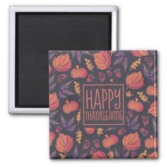 Vintage Design Happy Thanksgiving | Magnet - home gifts ideas decor special unique custom individual customized individualized