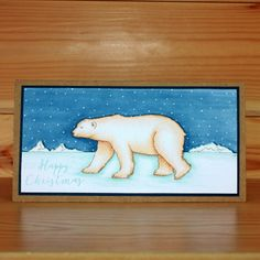 Christmas has arrived at Hobby Art! Introducing 'Poles Apart' New Size Clear set contains 14 stamps. Designed by Sharon Bennett. Card by Becki Mayes Christmas 2016, Christmas Cards, Baby Polar Bears, Art Cards, Clear Stamps, A5, Stamping, Card Ideas, Card Making